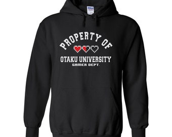 Property of, Otaku University, Gamer Dept, Heart health hoodie, black hoodie, gamer fan gift, anime fan gear, gamer gift, otaku anime gift