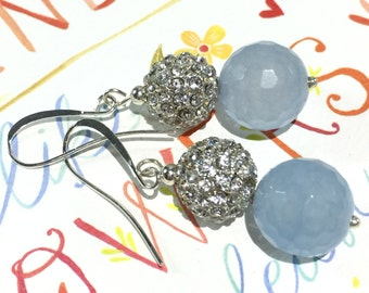 Silver Pave Drop Earrings, Blue Agate Earrings, CZ Pave Earrings, large,  Crystal Pave Dangle, Silver CZ Earrings, Christmas, Bridal