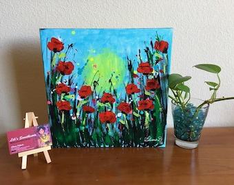 "Poppy Field - Original art (12""x12""x1.5"")"