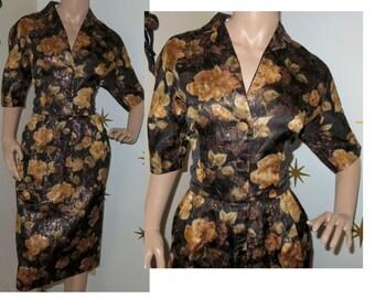 SALE! Vintage 1950s gold metallic floral brocade wiggle dress large 229