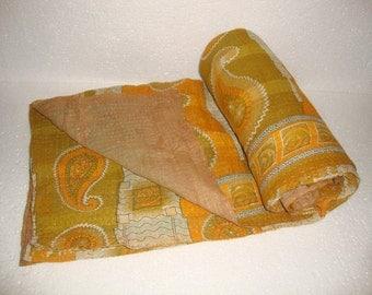 Vintage Light weight Kantha Quilt Reversible Throw Bedspread Bedding E967