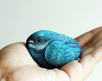 Blue bird stone art Original art of stone painting.