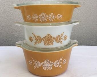 Pyrex Butterfly Gold Cinderella casseroles