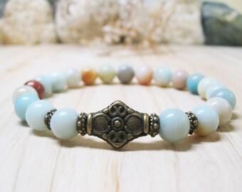 Amazonite Bracelet Gemstone Bracelet Calming Bracelet Healing Bracelet Throat Chakra Bracelet Spiritual Bracelet Mala Bracelet 8mm Amazonite