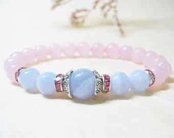 Blue Lace Agate Bracelet Rose Quartz Bracelet Gemstone Bracelet Wrist Mala Bracelet Healing Bracelet Positivity Bracelet Romantic Bracelet