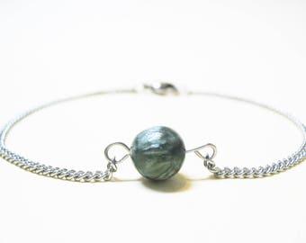 Seraphinite Bracelet Minimalist Gemstone Bracelet Seraphinite Jewelry Minimalist Jewelry Spiritual Bracelet Love Bracelet Chain Bracelet