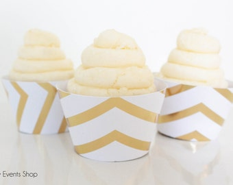 Small Gold Chevron Cupcake Wrappers, Gold Cupcake Wrappers, Chevron Cupcake Wrappers, Cupcake Wrappers, Wedding Cupcakes-Set Of 6,12,16,24+