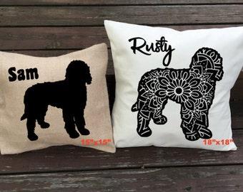 Personalized Labradoodle Pillow - Silhouette Pillow - Dog Pillow Cover - Burlap Pillow - Home Decor - Decorative Pillow - Dog Decor