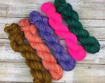 Faerie Magik Mini Pack | 5 x 20g. | Superwash Merino Wool/Nylon Blend | Fingering Weight