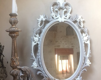 Great patina baroque Medallion mirror taupe and cream