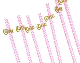 """12 pcs """"One"""" script gold silver glitter on pink blue chevron paper straw for birthday party decor toddler girl boy"""