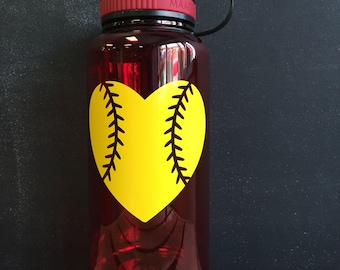 Softball Heart Water Bottle || Wide Mouth Water Bottle || 34oz Water Bottle || Personalized Water Bottle BPA Free