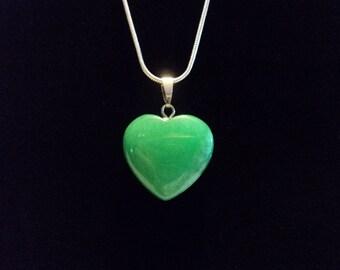 Necklace Heart Charm Pendant, Crystal Quartz, Heart Pendant Necklace, Amazonite