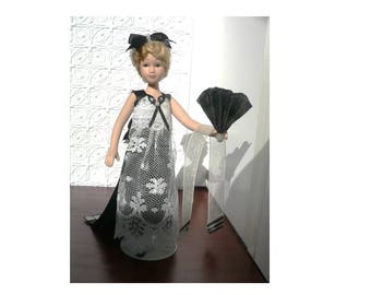 OOAK miniature dollhouse black and white wearable evening gown with fan and wrap, 1/12 scale, Dancing Harlequins Design