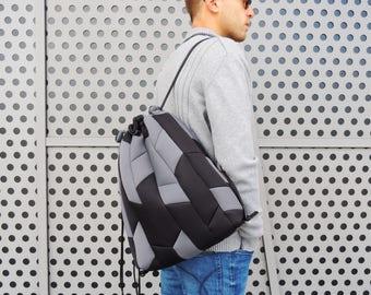 Drawstring backpack men, vegan bag gift, drawstring backpack, mens backpack, vegan backpack, backpack for men, travel backpack, gift for him