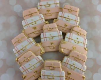 Pastel Travel Cookies, Suitcase Cookies, Wedding, Shower, Rehersal Dinner