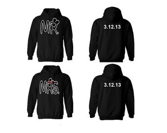 Mr Mrs  Couple hoodies, personalized Back custom Dates, comes in a pair, Anniversary gift , Couple Hoodie,**BOTH