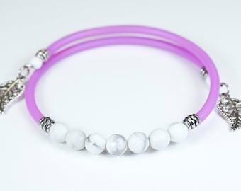 Howlite bracelet, purple cord