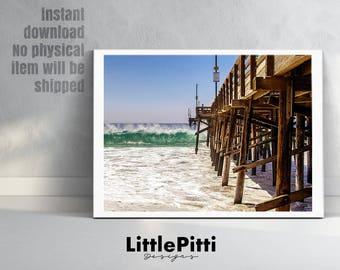 Coastal print, pier print, beach decor, pier photo wall art, ocean print, coastal beach nautical decor, large print, beach house decor