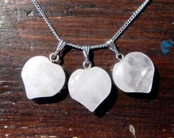 Rose Quartz Heart Pendant | Rosequartz Necklace Nature Gemstone Gem Crystal