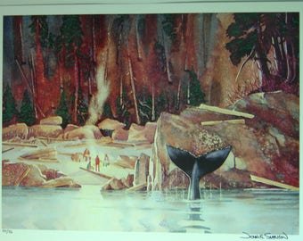Unframed Beach Party with Whale by John Svenson with Certificate of Authenticity (MM)