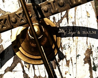 Shabby chic chippy paint sundial fine art photography print, chipping paint, cottage chic, gold, white, flaking paint, abstract, minimalist