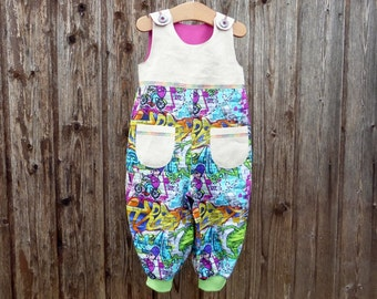 Colorful jumpsuite, convinient one-piece suite, upcycled romper, overall which is suitalble for daily use, upcycled overall