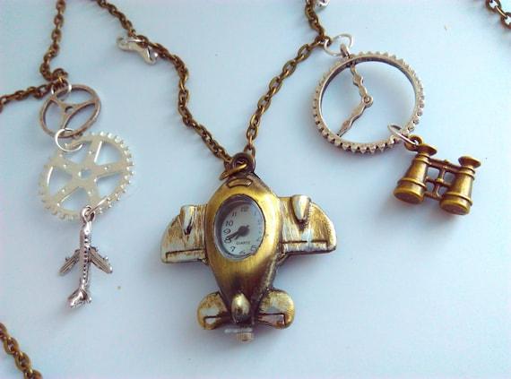 Steampunk necklace, aeroplane, aeroplane watch pendant, steampunk, watch pendant, cogs, cog necklace, aeroplane necklace, steampunk watch #9 by VintageBlingAndBags