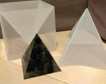 Up to 15cm Large Silicone Square Pyramid Mold +  Hard PLASTIC STAND with scales INCLUDED! Resin Orgone Chakra