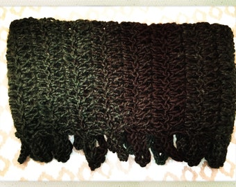 Crocheted Hunter Green and Black Fringe Cowl