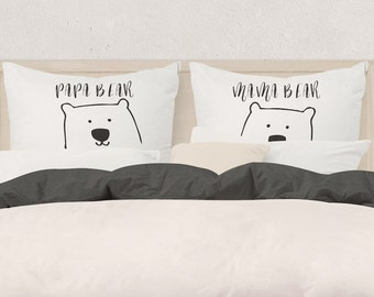 Mama Bear & Papa Bear Pillow Cases, home decor, couples gift,new parents gift,mum to be, dad to be, house warming, bear couple, bear pillows