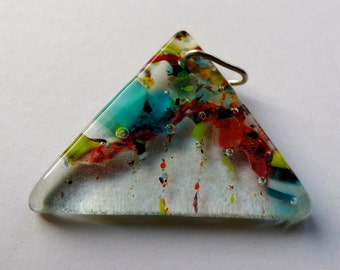 Unusual shape, triangular fused glass multicoloured pendant, three dimensional with Sterling silver bail.
