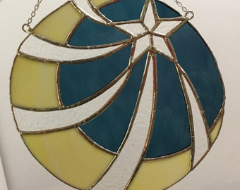 Stained Glass Moon And Star Swirl Window Hanger. Larger suncatcher for someone who loves the night sky.