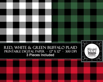 3 Digital Paper Backgrounds, Lumberjack Buffalo Plaid - Printable or Digital Scrapbook Paper - 3 Colours, Red White and Green #4