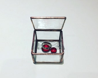 Stained Glass Ring Box, Ring Bearer Box. Engagement Ring Box, Wedding Ring Box, Water Glass Ring Box