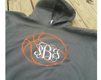 Basketball Hoodie, Monogrammed Basketball Hoodie,  Monogram, Monograms, Basketball, Monogrammed Basketball Shirt, Basketball Hoodie