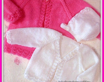 "PDF Knitting Pattern - Babies/Toddlers Cardigans or Jacket and Bonnet Set to fit 14-22"" - Instant Download"