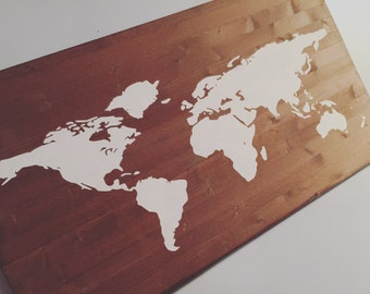 Hand Painted World Map on Pine Wood