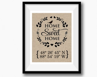 Personalized Address Sign | House Warming Gift | New Home  Gift | Home Sweet Home Burlap Print | New Homeowner | New House Gift