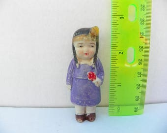 Sweet Frozen Charlotte Native American , Bisque Indian Doll , Porcelain Penny Doll , Japan Ceramic Doll , Miniature Doll , Bisque Doll