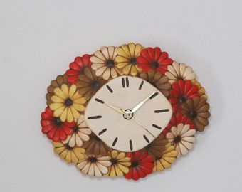 Vintage retro mcm ceramic plug in electric wall clock - Atlantic mold Mid century wall clock - Mid century modern clock