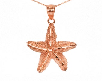 10k Rose Gold Starfish Necklace