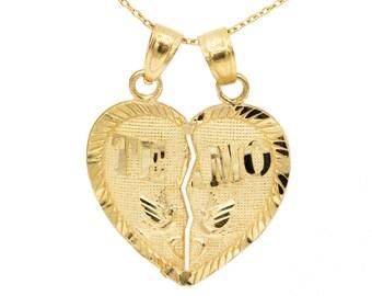 10k Yellow Gold Te Amo Heart Necklace