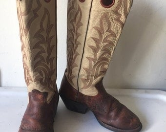 Brown&beige men's cowboy boots, made from real leather, embroidered, original top part of the boots, vintage style, western, men's size 9D.