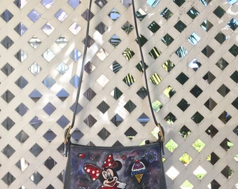 """Gray designer handbag, from leather, bag has unique printed picture - """"Mickey mouse"""", stylish handmade bag, new style, size-medium."""