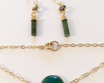 Green Jade and Onyx. Earring and Bracelet in GoldFilled.