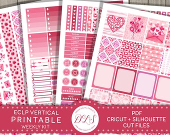 February Planner Stickers, ECLP Vertical Stickers, Valentines Stickers for Erin Condren Planner, Printable Weekly Planner Kit, VS123