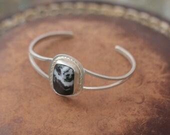 Sterling silver zebra stone cuff bracelet - handmade