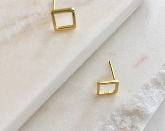 Tiny Gold Square Stud Earring Hollow Square Earring Gold Jewelry Geometric Earring Minimalist Jewelry  Minimalist Bridesmaid Gift Bridal Ear