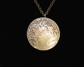 Etched Brass Medallion Pendant (05212017-039)